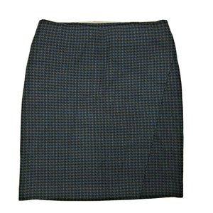 J JILL Ponte Blue Houndstooth Wrap Style Skirt - S